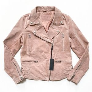 Blank NYC Pink Suede Leather Moto Jacket